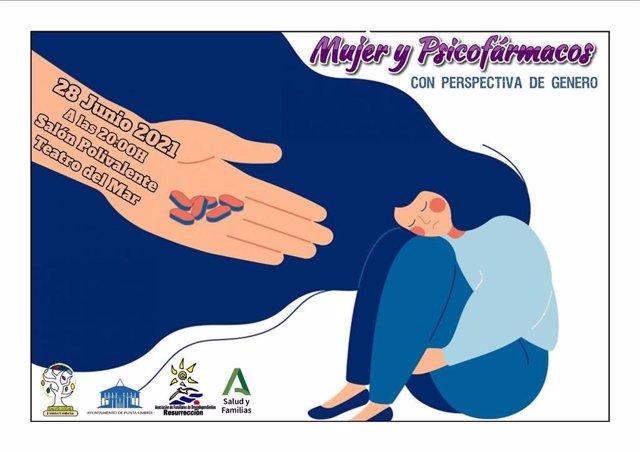 Cartel sobre una charla sobre Mujer y Psicofármacos.