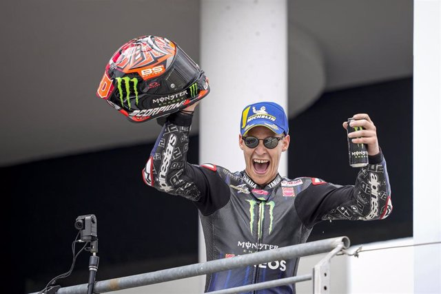 Quartararo Fabio (fra), Monster Energy Yamaha MotoGP, Yamaha YZR-M1, portrait celebrates his third place during the 2021 Moto GP Liqui Moly Motorrad Grand Prix Deutschland, German Grand Prix from June 18 to 20, 2021 on the Sachsenring circuit, in Germany