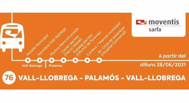 Mapa del nou servei d'autobús que connectarà els municipis de Vall-llobrega i Palamós (Girona)