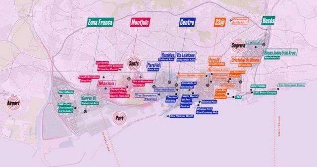 Mapa dels espais de l'Ajuntament de Barcelona en el Mobile World Congress (MWC)