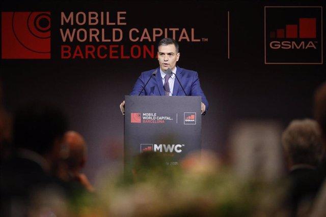 El presidente del Gobierno, Pedro Sánchez, en la cena inaugural del MWC 2021
