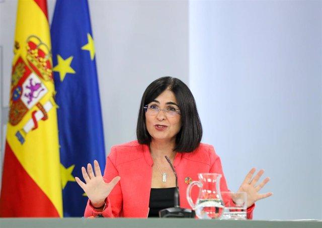 La ministra de Sanidad, Carolina Darias, comparece en rueda de prensa posterior al Consejo de Ministros extraordinario en Moncloa, a 24 de junio de 2021, en Madrid (España). El Consejo de Ministros extraordinario de este jueves ha aprobado la eliminación