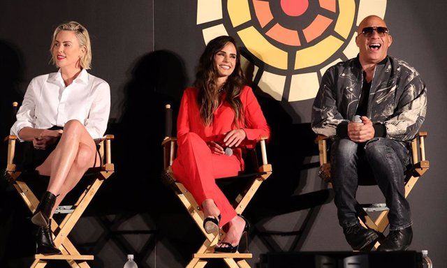 Charlize Theron, Jordana Brewster and Vin Diesel speak onstage during CTAOP's Night Out on June 26, 2021 in Universal City, California.