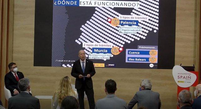 El ministre de Justícia, Juan Carlos Campo, intervé en el Mobile World Congress (MWC) de Barcelona