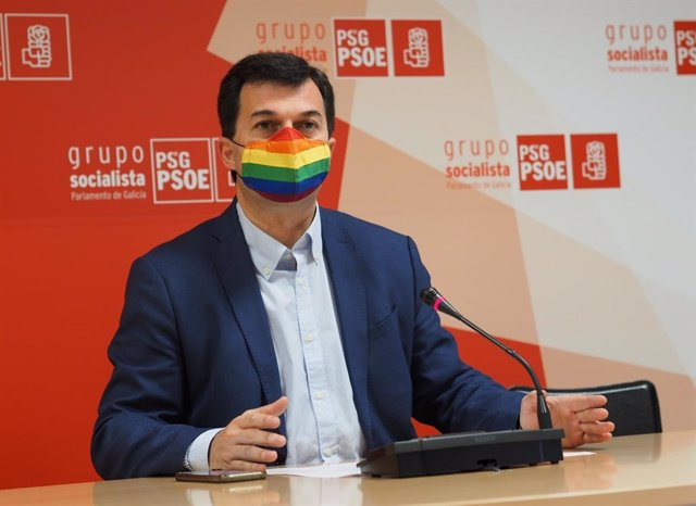 El secretario xeral del PSdeG, Gonzalo Caballero, en una rueda de prensa ofrecida el lunes 28 de junio