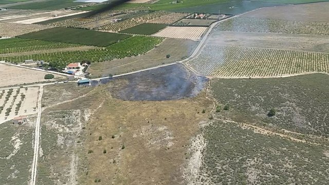 Imagen tomada desde el aire por el técnico de extinción de la Dirección General del Medio Natural