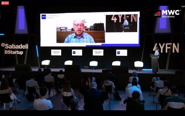 El presidente honorífico de 4YFN, Yossi Vardi, durante su intervención telemática en la inauguración del 4YFN