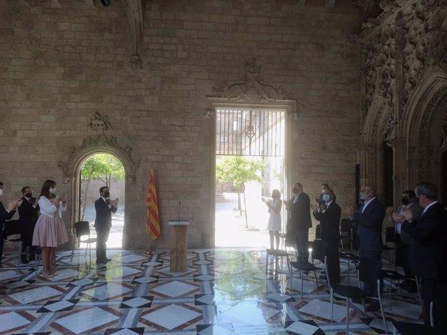 El Govern rep els indultats de l'1-O al Palau de la Generalitat