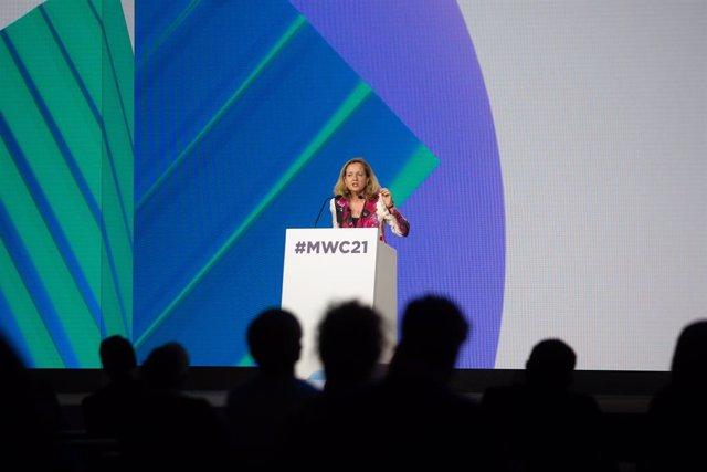 La ministra d'Afers Econòmics i Transformació Digital, Nadia Calviño, durant la seva intervenció