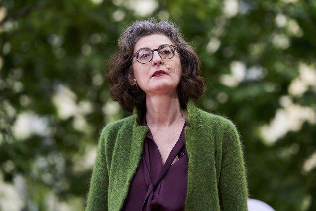 Archivo - La eurodiputada Maite Pagazaurtundúa, durante un acto electoral en la Plaza de Chamberí, a 1 de mayo de 2021, en Madrid (España). Cs continúa su agenda electoral en el penúltimo día de campaña, con la vista puesta en el martes 4 de mayo.