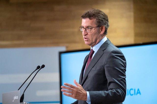 O titular do Goberno galego, Alberto Núñez Feijóo, en una rueda de prensa posterior a la reunión de su Ejecutivo.