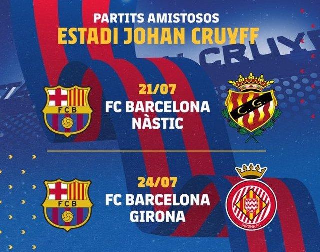 El Barça de la temporada 2021/22 arranca la pretemporada con dos partidos amistosos en el Estadi Johan Cruyff, ante Nàstic y Girona