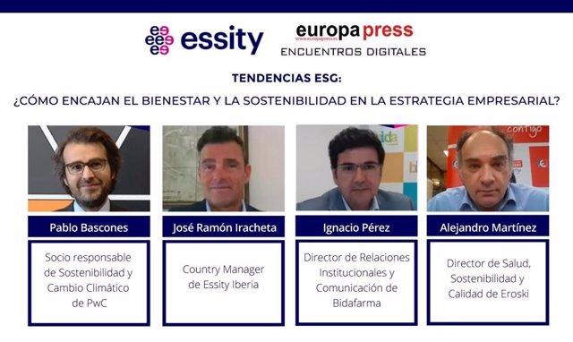 Intervinientes en el encuentro digital 'Tendencias ESG: ¿Cómo encajan el bienestar y la sostenibilidad en la estrategia empresarial?