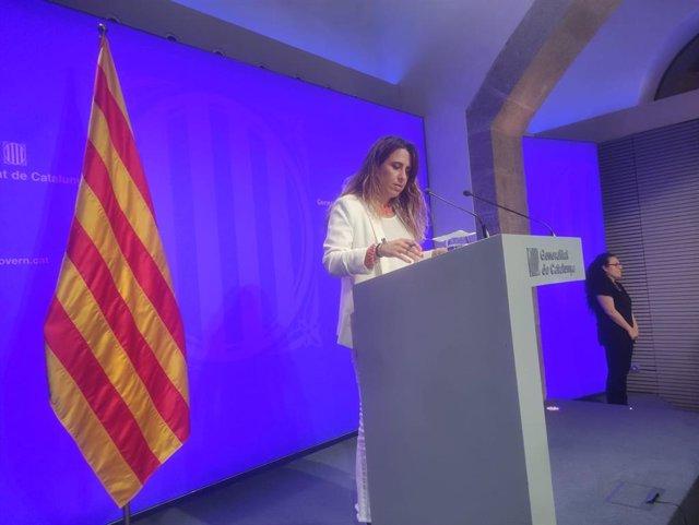 La portavoz del Govern, Patrícia Plaja, en rueda de prensa tras el Consell Executiu el 29 de junio.