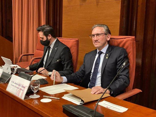 El conseller de Economía y Hacienda de la Generalitat, Jaume Giró, este martes en el Parlament