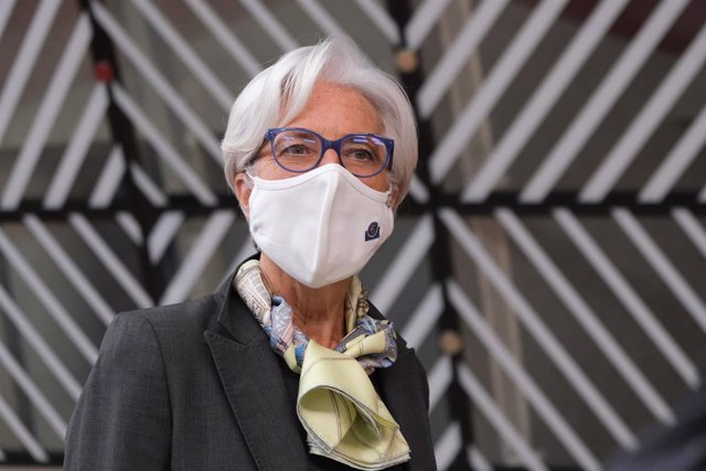 HANDOUT - 25 June 2021, Belgium, Brussels: President of the European Central Bank Christine Lagarde arrives to attend the second day of the European Union summit at the European Council. Photo: Alexandros Michailidis/European Council/dpa - ATTENTION: edit