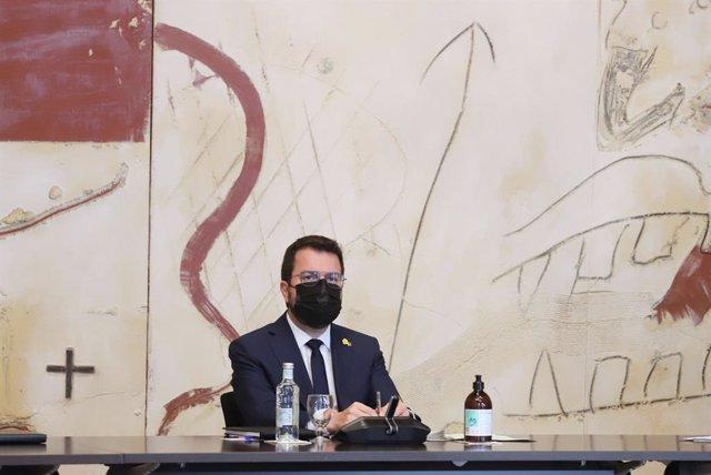 El president de la Generalitat, Pere Aragonès, en la reunió del Consell Executiu d'aquest dimarts 29 de juny
