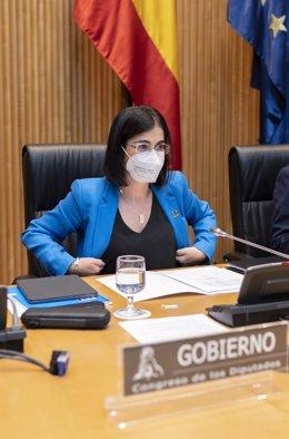 La ministra de Sanidad, Carolina Darias, a su llegada a la Comisión Mixta para el Estudio de los Problemas de las Adicciones, a 29 de junio de 2021, en el Congreso de los Diputados, Madrid, (España). Su intervención se produce con el objeto de informar so