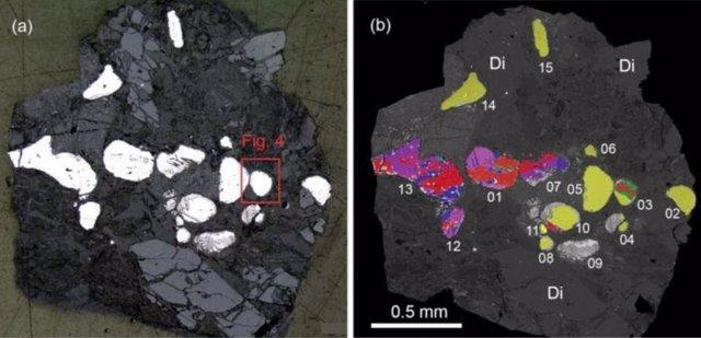 Vista general de la roca con asociación allabogdanita-barringerita.