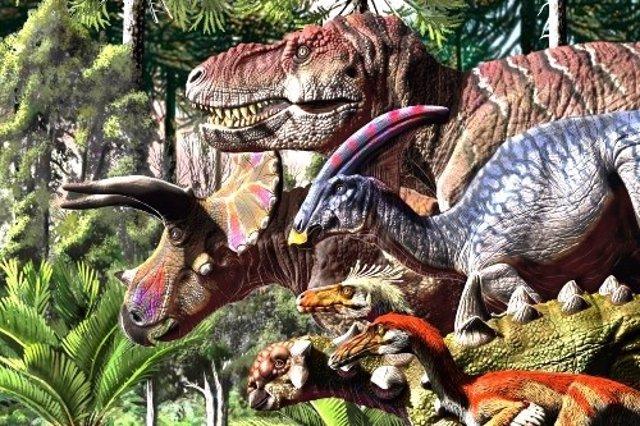 Gráficos que muestran cómo la tasa de especiación (azul) descendió y la tasa de extinción (rojo) aumentó bruscamente en los últimos 10 millones de años de la era de los dinosaurios.