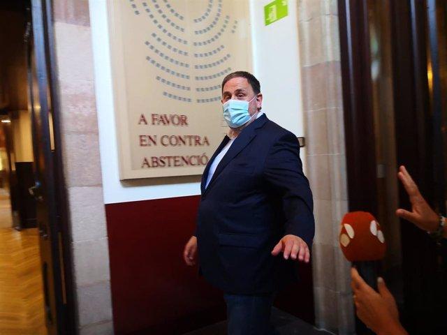 El líder d'ERC, Oriol Junqueras, al Parlament de Catalunya
