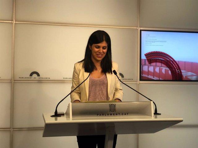 La secretària general adjunta i portaveu d'ERC, Marta Vilalta, en una conferència de premsa al Parlament