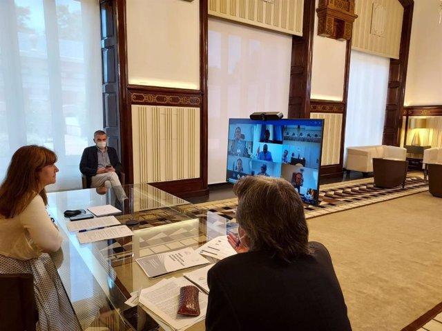 La presidenta del Parlament, Laura Borràs, participa en la trobada telemàtica de la Comissió Política de l'Assemblea Parlamentària de la Francofonia