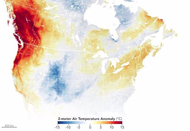 Anomalía de temperatura el 27 de junio
