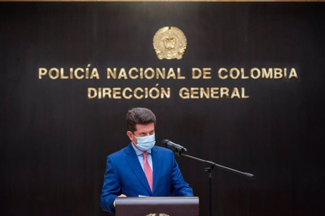 Archivo - 09 February 2021, Colombia, Bogota: Colombian Defence Minister Diego Molano speaks during a press conference to announce more reinforcement of the police to strengthen citizen security at the General Directorate of the Nation. Photo: Chepa Beltr