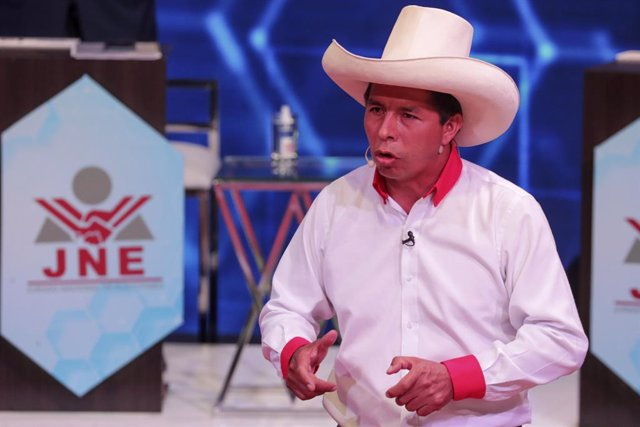 Archivo - Candidato de Perú Libre, Pedro Castillo, a las elecciones presidenciales de Perú durante un debate, en marzo de 2021