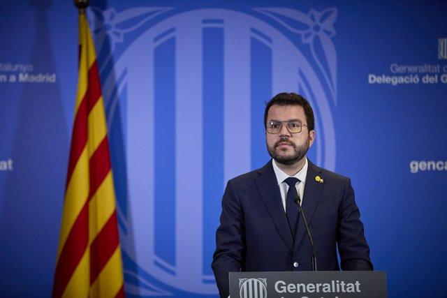 El president de la Generalitat catalana, Pere Aragonès ofereix una roda de premsa en la llibreria Blanquerna després de la reunió mantinguda amb el president del Govern, a 29 de juny de 2021, a Madrid (Espanya). Tots dos mandataris s'han reunit avui per p