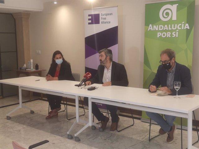 Imagen de este miércoles de la rueda de prensa de Ana Miranda, Modesto González y Jordi Sebastiá.