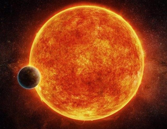Concepción artística de una supertierra orbitando una estrella enana roja