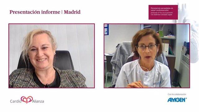 Maite San Saturnino y  la doctora Rocío Tello de Meneses durante la presentación del Informe 'Prevención secundaria en salud cardiovascular: poniendo el foco en el paciente con síndrome coronario agudo'