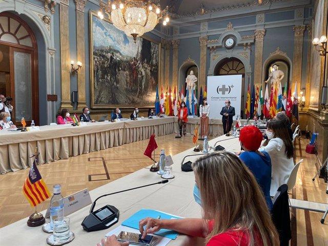 Reunión en el Senado del Pleno del Consejo Interterritorial del Sistema Nacional de Salud (CISNS), la primera desde el inicio de la pandemia de COVID-19. En Madrid (España), a 30 de junio de 2021.