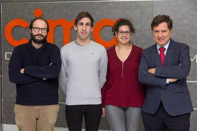 Los Dres. Álvaro Teijeira, Iñaki Etxeberria, Elixabet Bolaños e Ignacio Melero, investigadores del Cima y de la Clínica Universidad de Navarra.