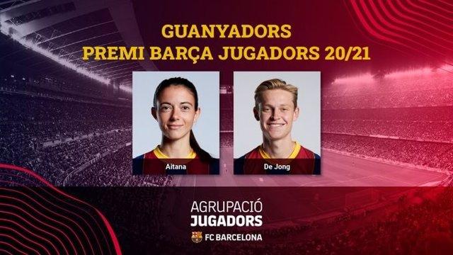 Aitana Bonmatí y Frenkie de Jong, ganadores del 'Premio Barça Jugadors' 2021