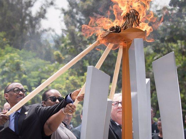 Archivo - El presidente de Ruanda, Paul Kagame, durante los actos por el 25º aniversario del genocidio de 1994