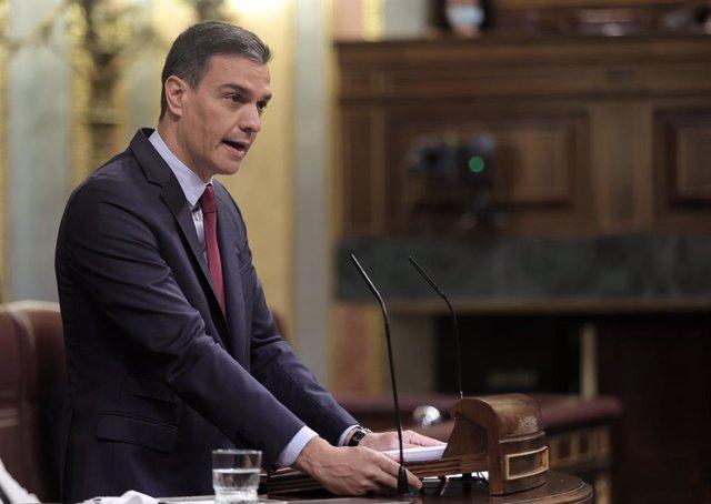 El president del Govern espanyol, Pedro Sánchez, en la sessió al Congrés dels Diputats