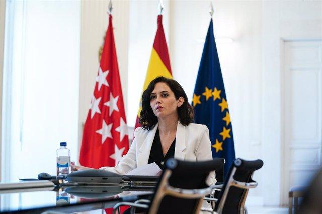 La presidenta de la Comunidad de Madrid, Isabel Díaz Ayuso, interviene en la 145ª Sesión Plenaria del Comité de las Regiones de la UE