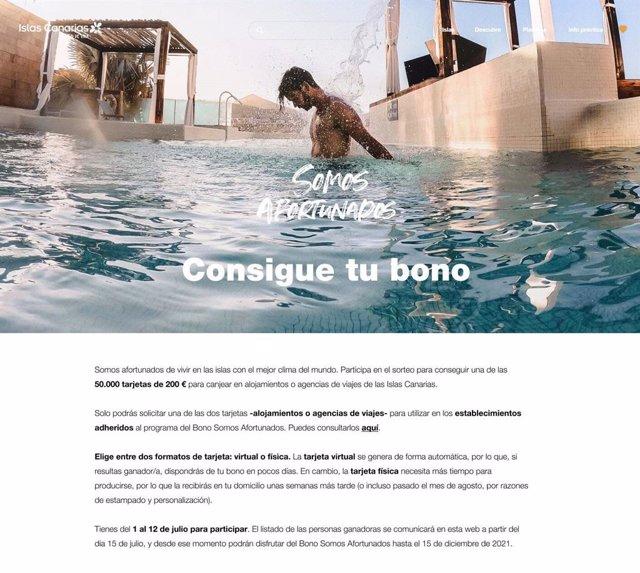 La Consejería de Turismo de Canarias abre este jueves la inscripción para optar a los bonos turísticos para residentes