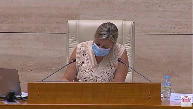 La presidenta de la Asamblea de Extremadura, Blanca Martín, en el pleno de la Cámara regional donde ha leído una declaración institucional con motivo del Día del Orgullo LGTBI