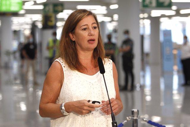 La presidenta del Govern balear, Francina Armengol, este jueves en Palma.