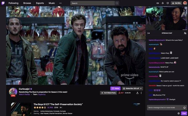 Watch Parties de Twitch con Amazon Prime Video.