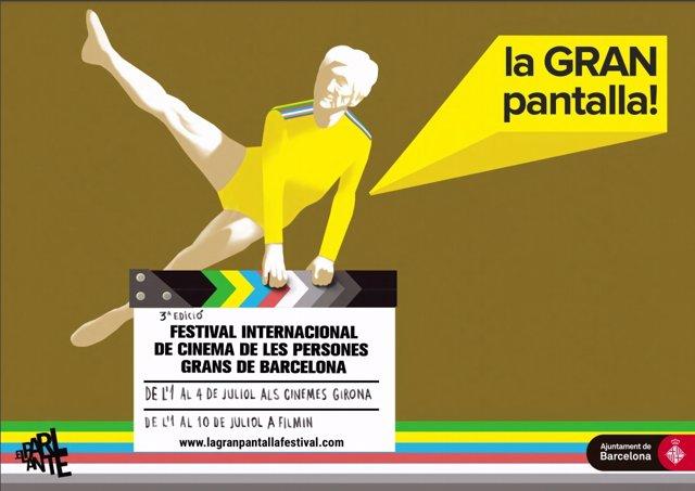 Cartell de la tercera edició del Festival Internacional de Cinema de les Persones Grans de Barcelona 'La GRAN pantalla'