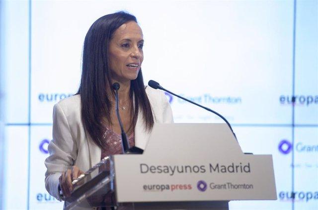 La presidenta del Grupo Red Eléctrica, Beatriz Corredor interviene en un  Desayuno Informativo de Europa Press en el Auditorio Meeting Place, a 28 de junio de 2021, en Madrid (España).