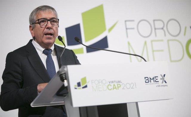Archivo - El presidente del Instituto de Crédito Oficial (ICO), José Carlos García de Quevedo, durante su intervención el 27 de mayo de 2021 en el Foro MedCap 2021 organizado por Bolsas y Mercados Españoles (BME)