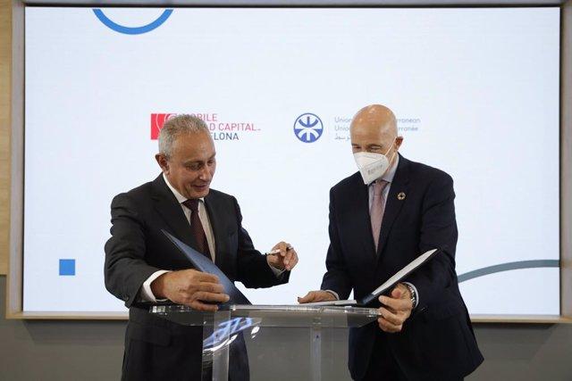 El secretari general de la Unió per la Mediterrània, Nasser Kamel; i el CEO de Mobile World Capital Barcelona, Carlos Grau