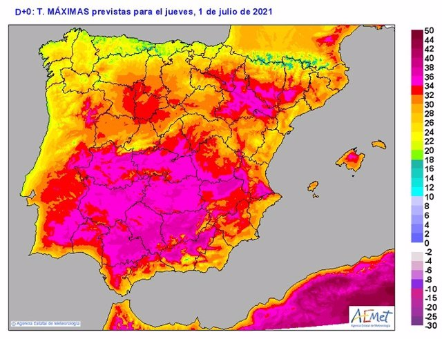 Mapa elaborado por la Aemet sobre la previsión de calor para el 1 y 2 de julio