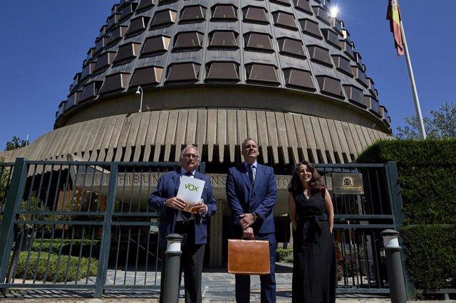 El diputado nacional Juan José Aizcorbe; el secretario general de Vox, Javier Ortega; y la vicesecretaria jurídica de la formación, Marta Castro, ante el Tribunal Constitucional.